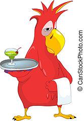 zabawny, waiter., parrot.