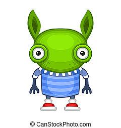 zabawny, wektor, zielony, rysunek, alien.