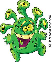 zabawny, zielony potwór