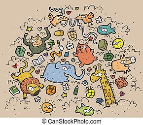 zabawny, zwierzęta, illustration., pociągnięty, objects:, ręka, wektor, ilustracja, mode!, eps10, skład