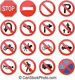 zabroniony, zatrzymajcie drogę znaczą
