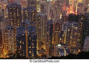 zabudowanie, highrise, antena, na, noc, prospekt