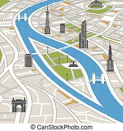 zabudowanie, mapa, miasto, abstrakcyjny