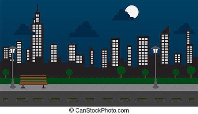 zabudowanie, noc, park, ulica