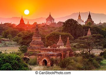 zachód słońca, bagan, bagan, skronie, myanmar