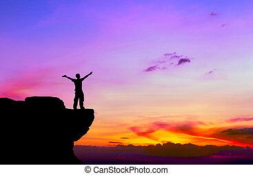 zachód słońca, człowiek, sylwetka, skała