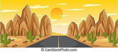 zachód słońca, droga, krajobraz, pustynia