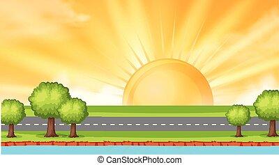 zachód słońca, droga, tło, projektować, wzdłuż, rzeka krajobraz