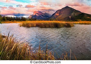 zachód słońca, jeziora, vermilion, banff