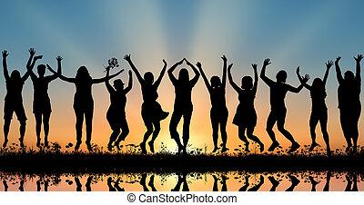 zachód słońca, kobiety, sylwetka, szczęśliwy