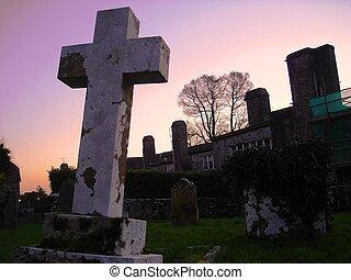 zachód słońca, krzyż