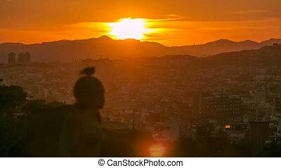 zachód słońca, montjuic., prospekt, jeden, najbardziej, miasto, cele, ważny, barcelona., montjuic, timelapse.
