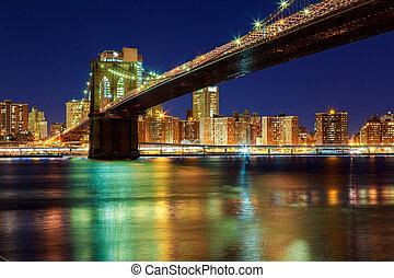 zachód słońca, na, york, manhattan, -, miasto, most, nowy, brooklyn, piękny