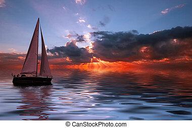 zachód słońca, nawigacja