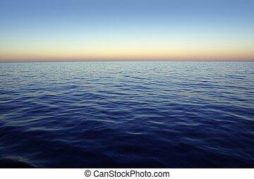 zachód słońca, piękny, wschód słońca, niebo, na, błękitny, czerwony, ocean, morze