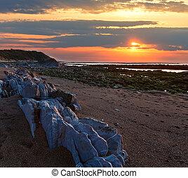 zachód słońca, prospekt, kamienisty, plaża, ocean