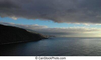 zachód słońca, prospekt, tenerife-canary, dramatyczny, antena, ocean., islands.atlantic, wyspa