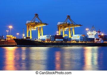 zachód słońca, przemysłowy, port, okrętowy, tajlandia, bangkok