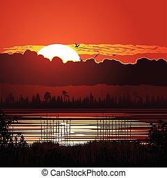 zachód słońca, tło, natura