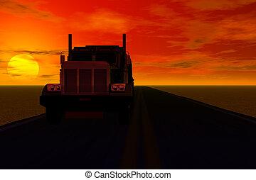 zachód słońca, wózek