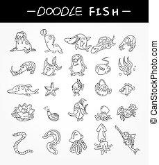 zaciągnąć, komplet, ikony, fish, ręka, akwarium