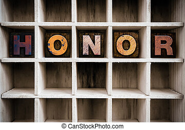 zaciągnąć, pojęcie, letterpress, drewniany, typ, honor
