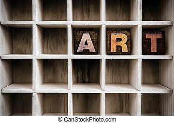 zaciągnąć, pojęcie, sztuka, letterpress, drewniany, typ