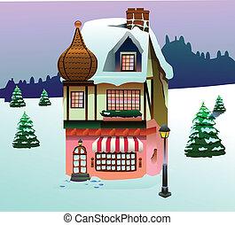 zacisk, dom, sztuka, śnieg