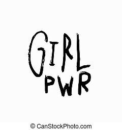 zacytować, dziewczyna, lettering., koszula, moc