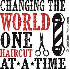 zacytować, fryzura, jeden, fryzjer, świat, wymiana, saying.