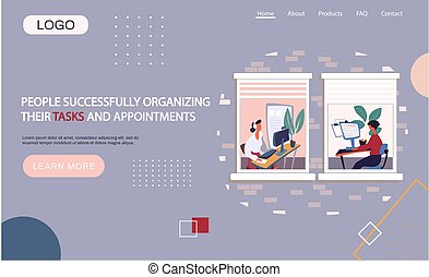 zadania, kobieta interesu, komputer, spotkania, ich, lądowanie, strona, ludzie, organizatorski, szablon