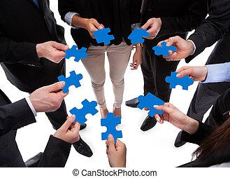 zagadka, ludzie, złączony, handlowy, kawałki