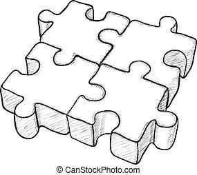 zagadka, wektor, -, rysunek, mający kształt