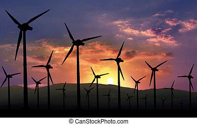 zagroda, eolian, energia, odnawialny