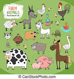 zagroda, hand-drawn, zwierzęta, komplet