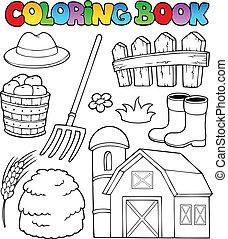 zagroda, kolorowanie, temat, 2, książka