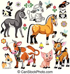 zagroda, komplet, zwierzęta, rysunek, dwa