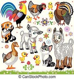 zagroda, komplet, zwierzęta, rysunek, jeden