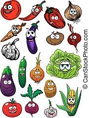 zagroda, warzywa, organiczny, rysunek, litery