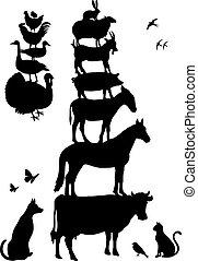 zagroda, wektor, komplet, zwierzęta