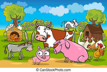 zagroda, wiejski, zwierzęta, scena, rysunek