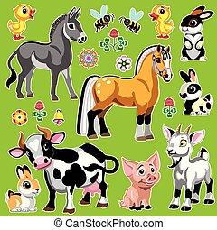 zagroda, zielony, komplet, zwierzęta, rysunek