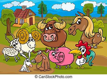 zagroda zwierzęta, grupa, rysunek, ilustracja