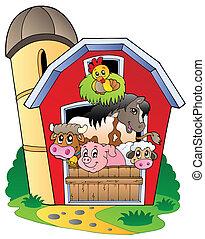 zagroda zwierzęta, różny, stodoła