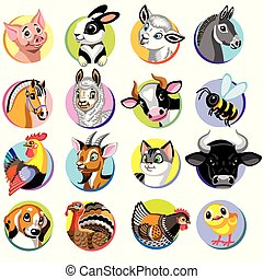 zagroda zwierzęta, rysunek, ikony