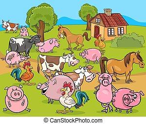 zagroda zwierzęta, rysunek, ilustracja