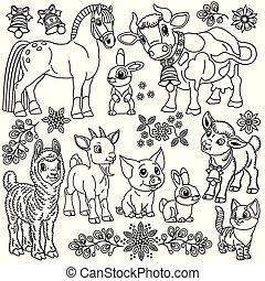 zagroda zwierzęta, rysunek, komplet, szkic