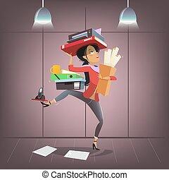 zajęte biuro, handlowy, osobisty asystent, towarzystwo, litera, style., wektor, samica, multitasking, manager., rysunek, szef, albo, sekretarka