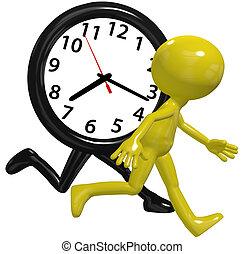 zajęty, pasaż, zegar, osoba, prąd czas, gwałt, dzień