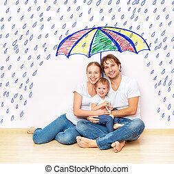zajmowałem się, miseries, deszcz, towarzyski, pod, family., concept:, rodzina, azyl, ochrona, parasol